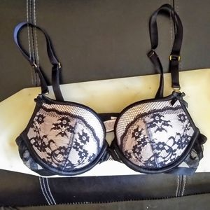 Sexy Pink Lace Black Padded Victoria Secret Bra
